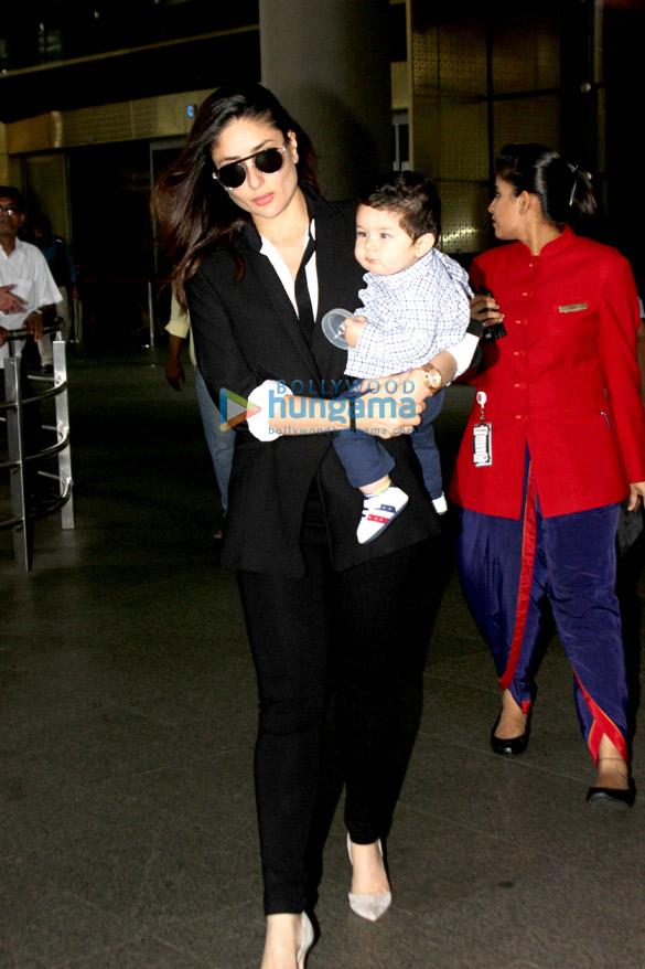 करीना कपूर खान और उनका बेटा तैमुर अली खान दिल्ली से लौटते हुए आए नजर